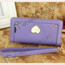Multi-functional Heart Pattern Pu Leather Case For Iphone 5 With Rivets With Neck And Wrist String (Purple)