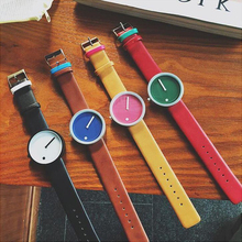 Leather Strap Colorful Blank Dial Unisex Minimalist Fashion Watches Cheap