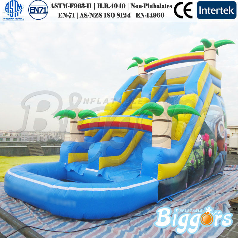 Free Shipping By Sea Purchase Festival Amusement Park Cheap Palm Tree Inflatable Slide for Sale