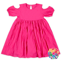 Solid Hot Pink Color Modern Girls Dresses Short Sleeve Kids Dresses Party Night Evening Wholesale Baby Girls' Summer Dress