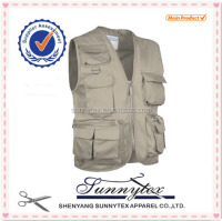 SUNNYTEX OEM Multi Pocket Multi Pocket Cheap Man Work Photographer Vest 2015