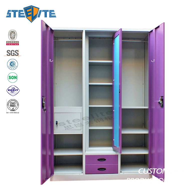Luoyang STEELITE factory price india metal 3 door bedroom godrej steel almirah wardrobe design godrej almirah designs with price