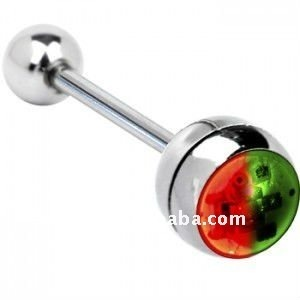 316l steel flashing barbell tongue ring body piercing jewelry
