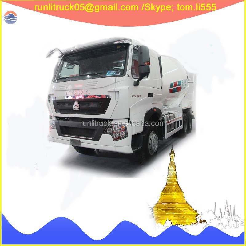 China sinotruck howo T5G ZZ1257N404HD1 RHD 6*4 14 cubic meters concrete mixer truck for sale in vietnam