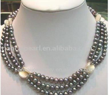 3 strands black pearl beads necklace