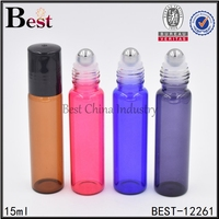 5ml 7ml 10ml 15ml glass glass perfume roll on bottle with stainless steel metal roller ball