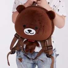 Hot sale school animal shape EVA Plush Bear backpack with pets For kids bags