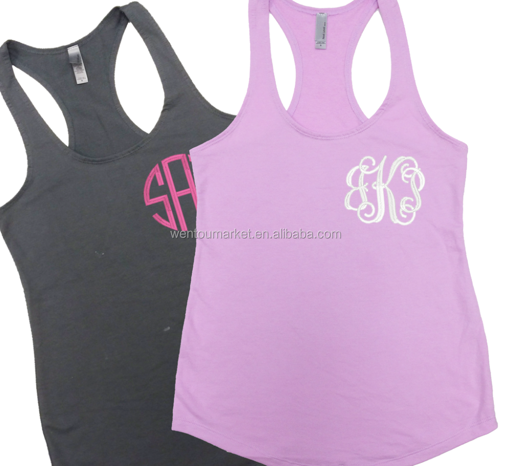 Sexy Ladies Hot Selling Monogrammed Racerback Tank