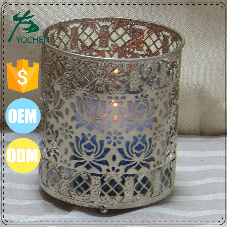Color customerize hand painted table stand metal candle holder