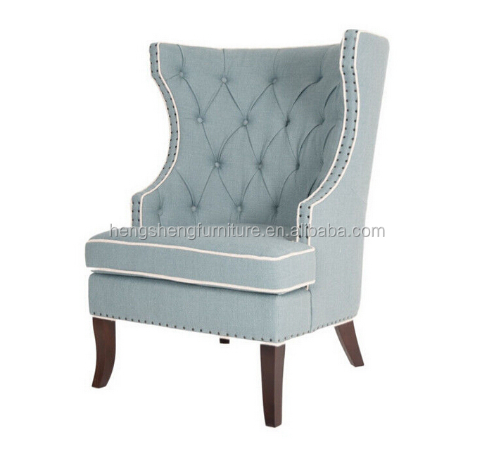 New design tufted blue grey fabric upholstery wing back wooden chair