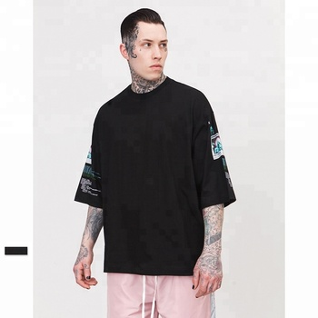 High street printing oversized cotton half sleeve men black t-shirts