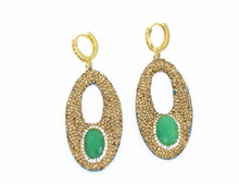 High quality jewelry earring gold plated oval diamond earrings stes for women