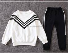 girl sports clothes sets Three bars V-shaped cotton pullover t-shirt and casual pants sports suits