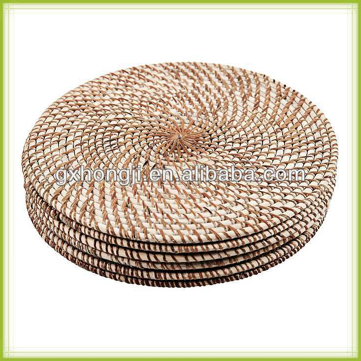 Handicraft luxury round rattan placemat