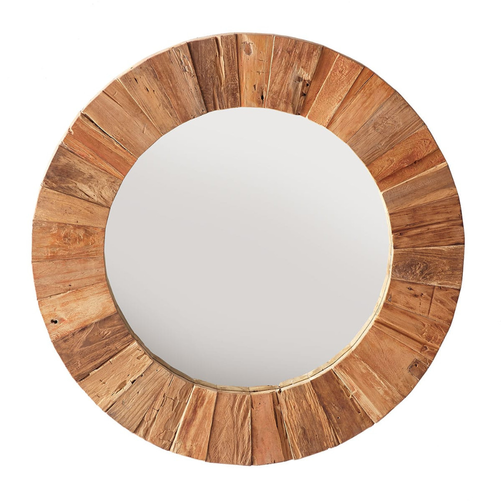New Arrival Wood Round Creative Framed Wall Mirror for home decoration