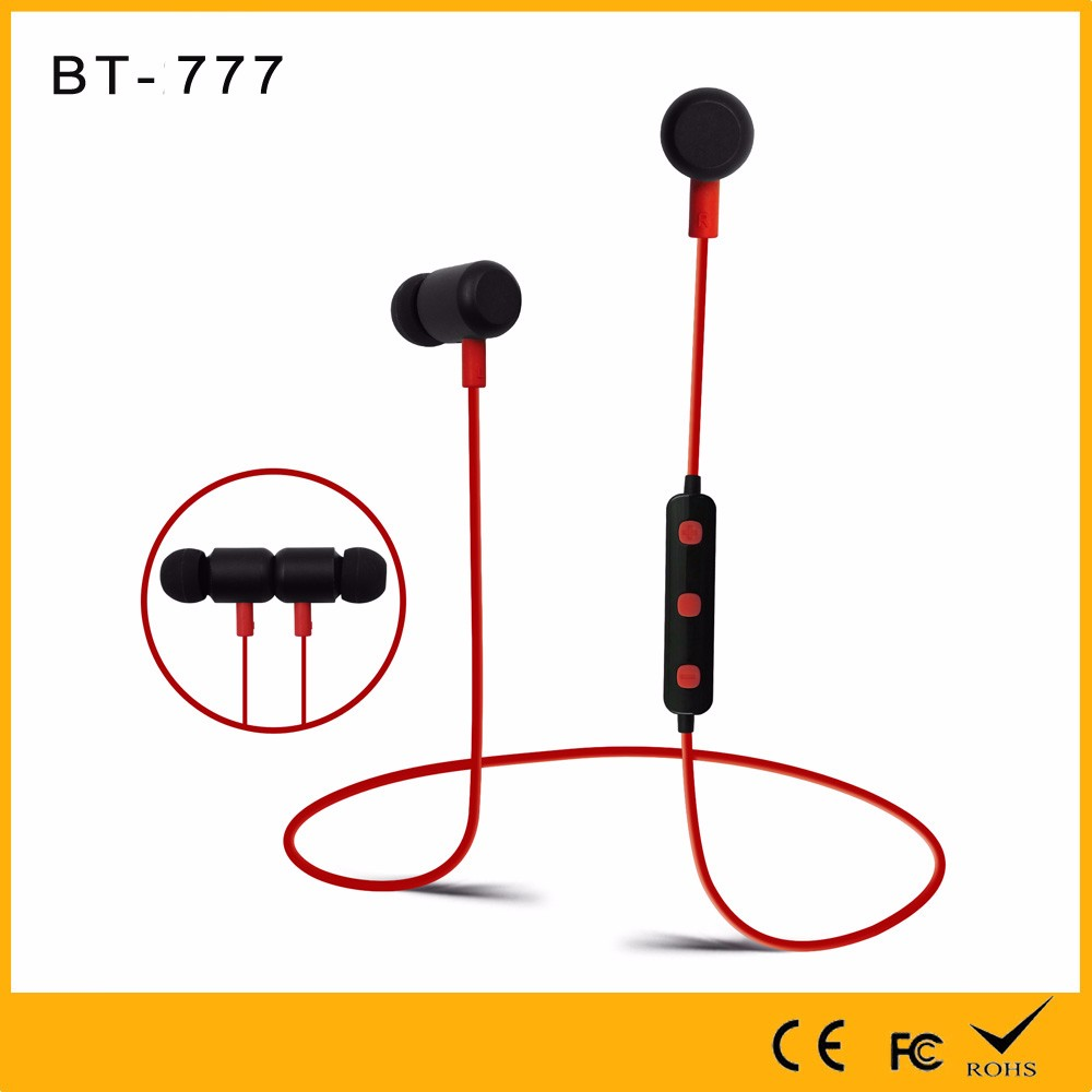 Shenzhen factory on stock wholesale ce rohs sport earphone bluetooth earbuds 2017 bt-777