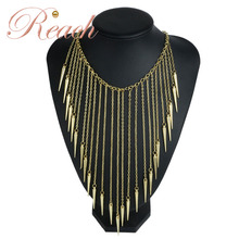 Supply Exaggerated Bohemian Style Alloy Long Tassel Necklace