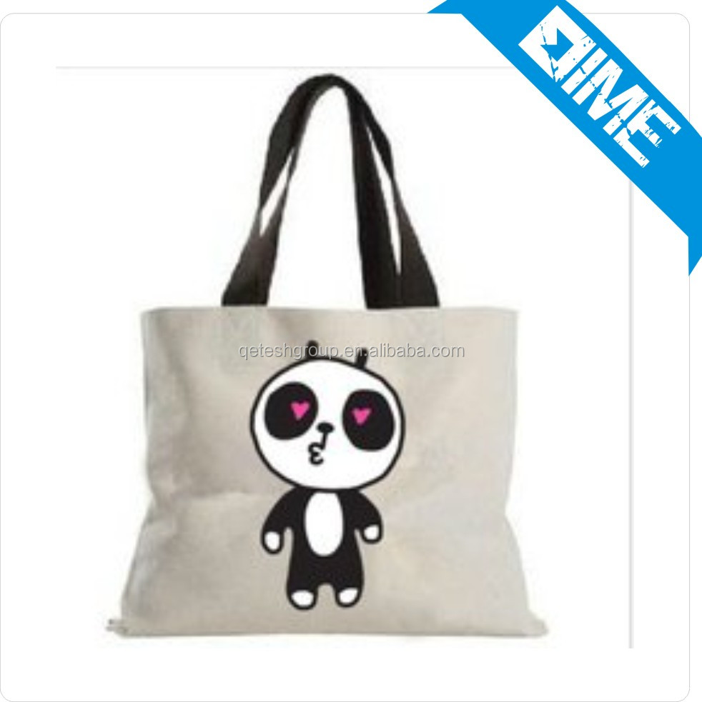 Whosale Customized Cheap Panda Pattern Convenient Shipping Cotton Bag With Your Logo
