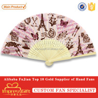 Folding promotion hand held fans with bamboo handle