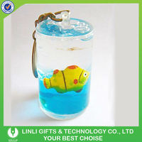 Cylinder Blue Liquid Fish Floating Key Chain
