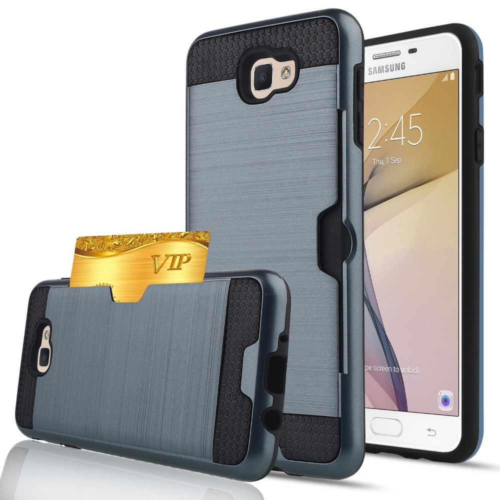 Shockproof back cover for samsung j7 2017 with card slot for samsung j7 2017 phone case