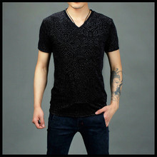 2016 Summer pleuche hollow bulk v-neck t shirt out breathable ice silk t-shirts men's personality v-neck t-shirt
