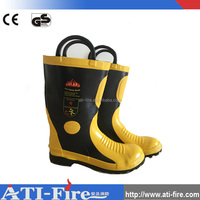 fire fighting boots shoes with steel toe cap fireman protected wearing rubber flame retardant safety products