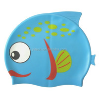 Hot Sale high quality cheap fish shape silicone kids swimming cap
