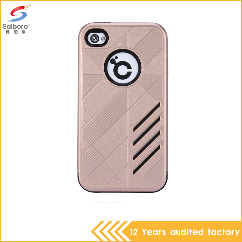 2016 latest products tpu with pc gold color hybrid armor mobile phone case cover for apple iPhone 4 4s 4G