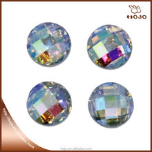 High quality round AB color rhinestones hotfix epoxy facted resin stone