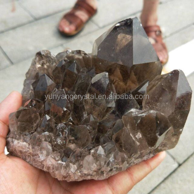 Beautiful Natural Citrine Smoky Quartz Clear Crystal Cluster for Sale