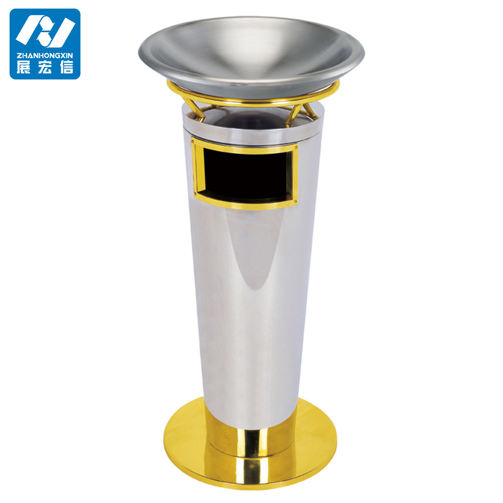 stainless steel metal standing ashtray bin