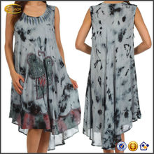 OEM 2015 wholesale sleeveless high-low hemline Butterfly Tie Dye Tank Sheath Caftan Mid Length lady dress cotton design