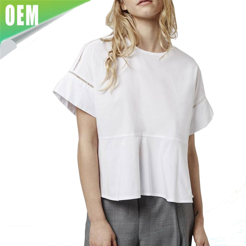 hollow out short sleeve design o neck blouse back button white shirts ladies summer stylish loose tops baju design