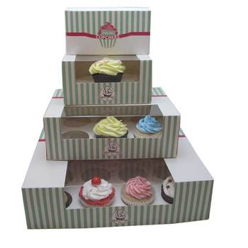 2018 new style cheap custom color cupcake boxes with window