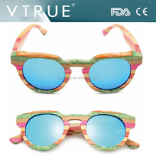 colorful bamboo sunglasses with mirror coating TAC polarized lense ,spring hinges comfortable experience