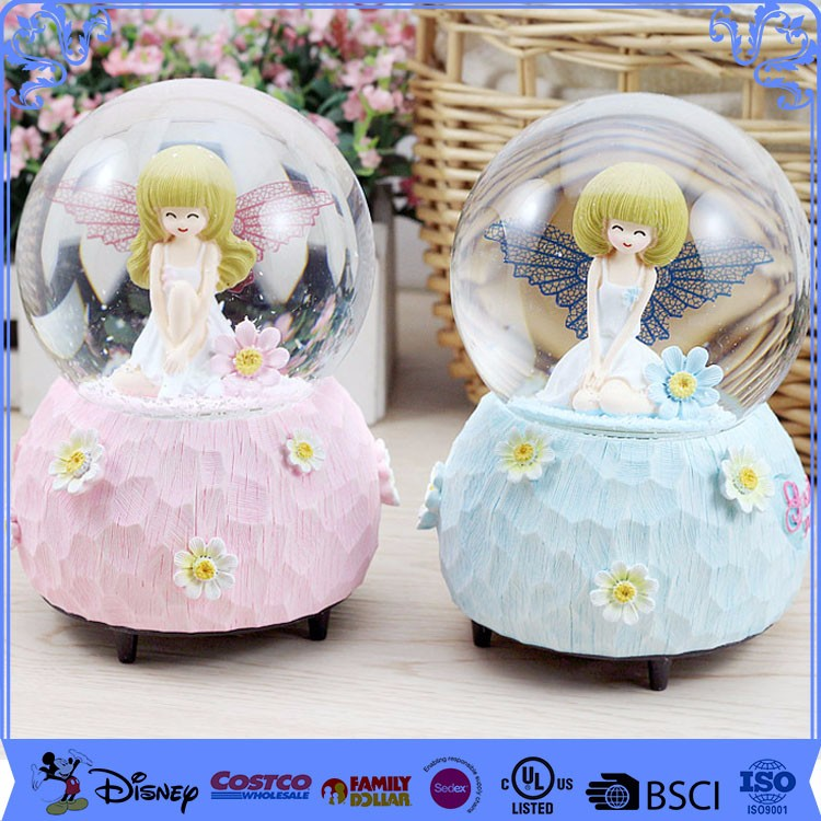 Printing Logo Cartoon Resin Baby Girl Snow Globe