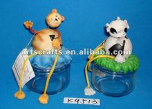 Polyresin cartoon figure with glass canister