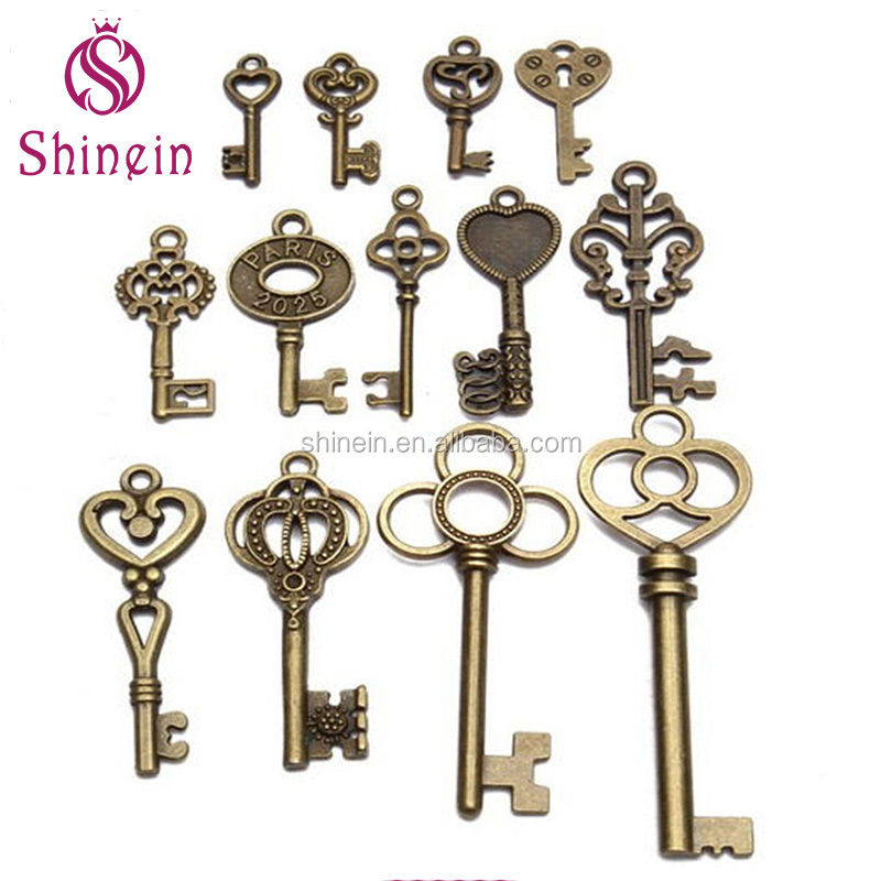 Wholesale 13pcs mixed antique keys designs metal <strong>charms</strong> for decoration
