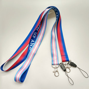 Polyester Personalizado Mobile Phone Lanyard,Printing Rainbow Id Card Rope With Plastic Holder