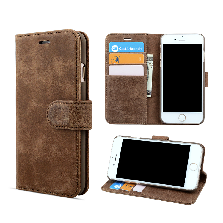 Protective genuine leather mobile phone case for iPhone 8 wallet cover