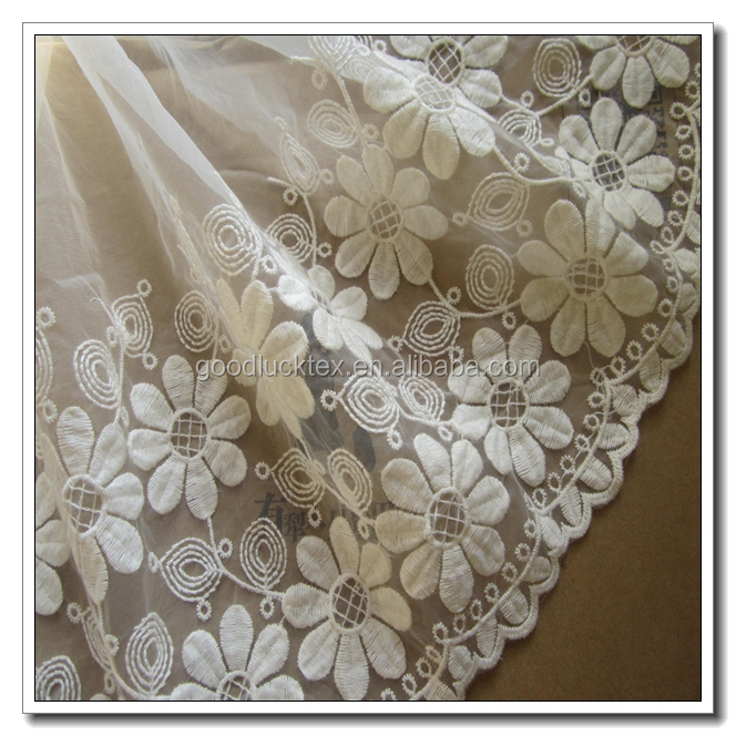 Latest design wholesale organza fabric with embroidery for shining girls dress