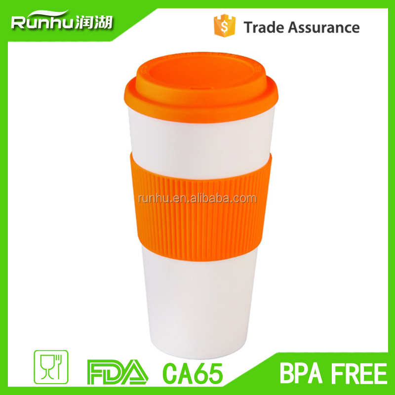 Hot Sales microwaveable double wall plastic promotional thermal travel coffee mug RH120-16