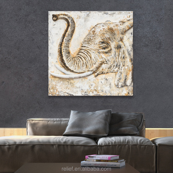 3D Handpainted Sculptured Big Elephant home wall painting Wall Oil Painting for Home decor
