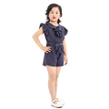 Wholesale 1-8 years girls navy jumpsuits rayon pleated jumpsuit
