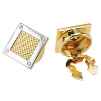 Two Tone Gold Spot Square Button Covers For Men