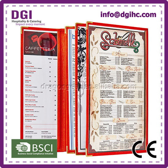 custom seal stamp Foldable Brown Menu Holder 2015 hottest beer promotional menu holder