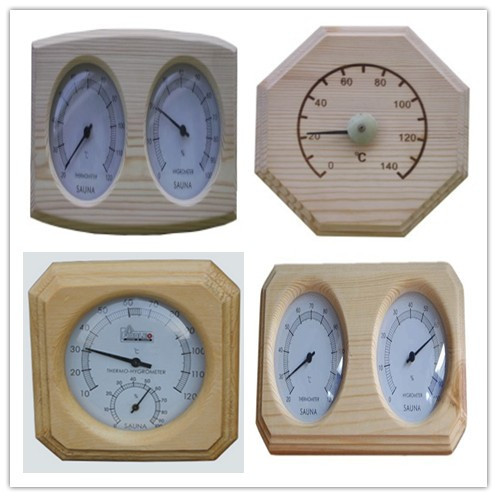 Sauna room accessories wooden/metal thermo-hygrometer for temperature measurement