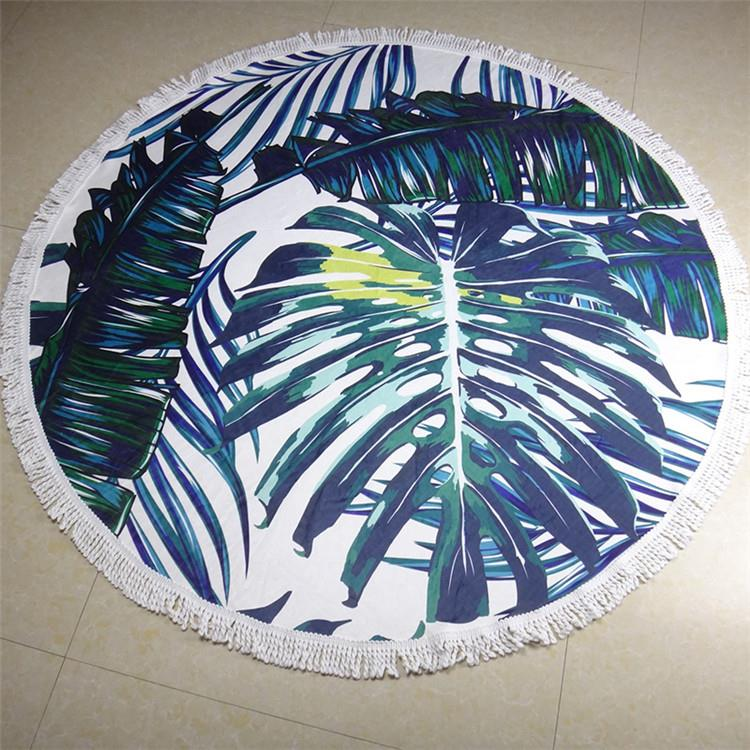 2017 wholesale beach round towel cotton print fringe beach towel