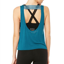 Womens Fitness Apparel Flattering Scoop Neckline Sports Top with Multi-strand filament Womens Tank Tops Custom for Yoga